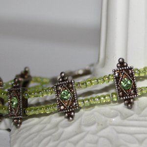 "Stunning green peridot and silver bracelet 7"""